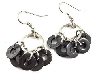 Dangle Earrings Black Hardware Jewelry Industrial Washers Eco Friendly