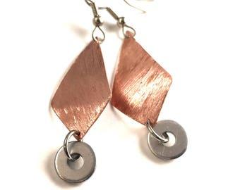 Copper Dangle Earrings Handmade Hardware Jewelry