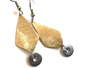Brass Dangle Earrings Handmade Hardware Jewelry
