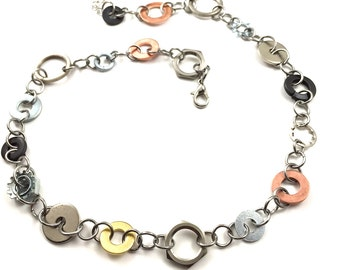 Chain Necklace Choker Mixed Metal Hardware Jewelry