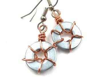 Copper Earrings Wire Wrapped Recycled Hardware Jewelry