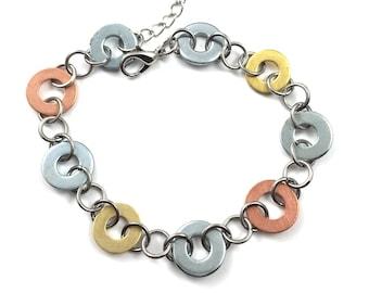 Chain Bracelet Mixed Metal Link Hardware Jewelry