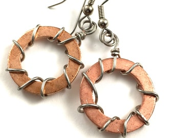 Copper Earrings Wire Wrapped Hardware Jewelry