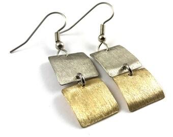 Earrings Brass and Silver Dangle Earrings
