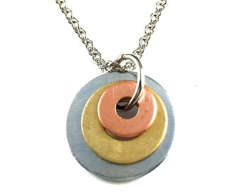 Pendant Necklace Mixed Metal Hardware Jewelry Eco Friendly