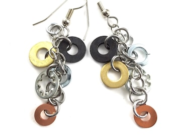 Dangle Earrings Mixed Metal Hardware Jewelry Industrial