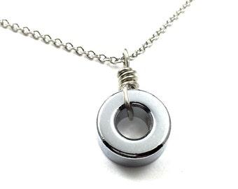 Circle Pendant Necklace Geometric Hardware Jewelry Industrial Hardware