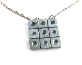 Square Pendant Necklace Industrial Hardware Jewelry Industrial Eco
