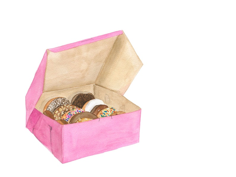A Dozen Donuts in a Classic Pink Bakery Box Doughnut with image 0