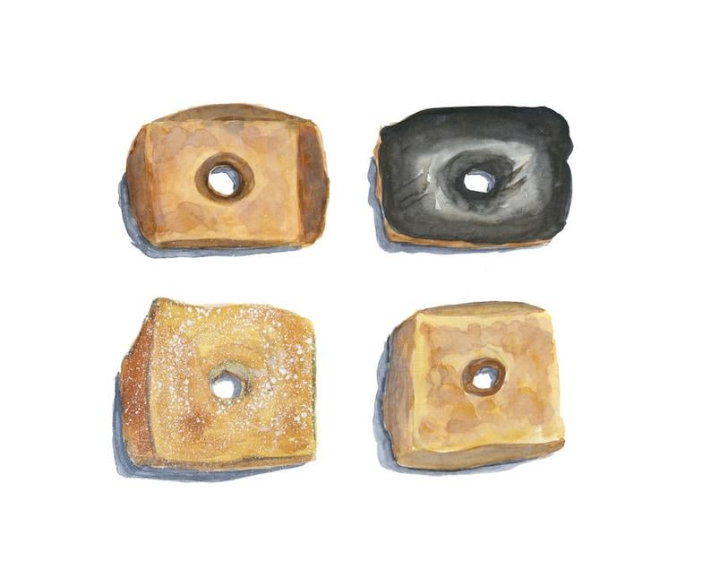 Croissant Donuts Original Watercolor Painting image 0
