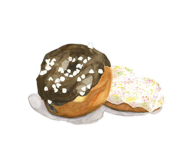 Chocolate Ganache and a Sprinkled Donut Original Watercolor image 0