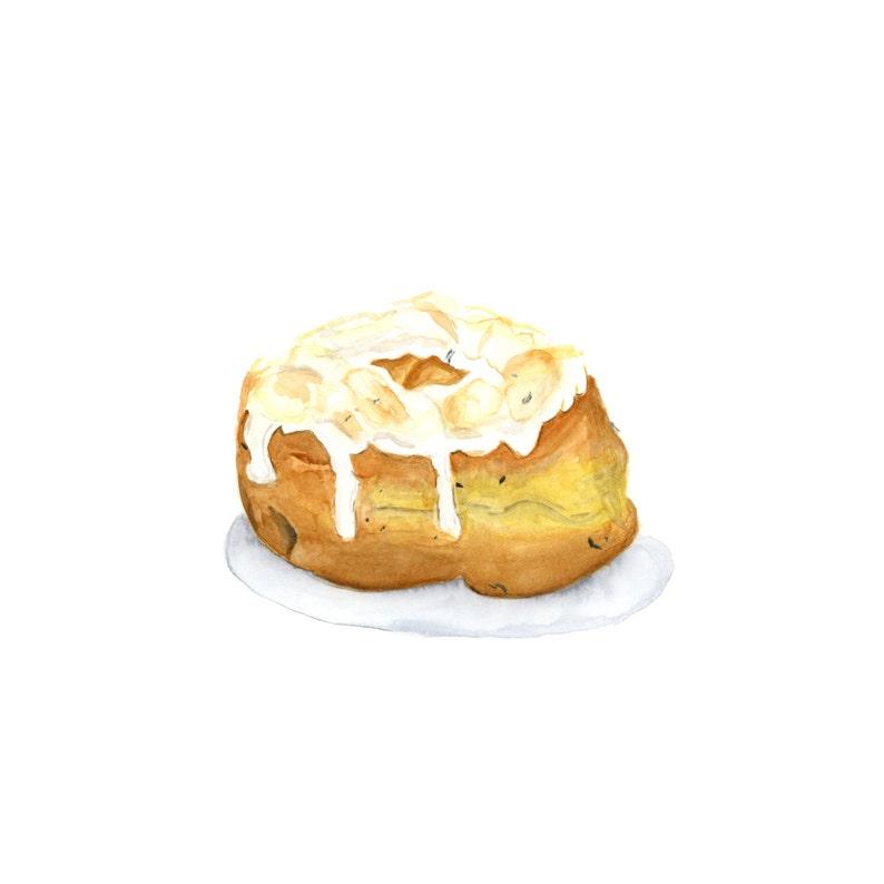 Artisinal Lemon Thyme Donut Original Watercolor Painting image 0