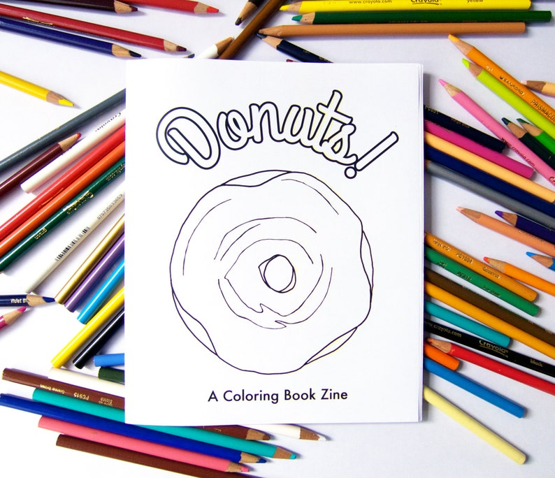 Donuts A Coloring Book Zine  for Adult and Kid Sized image 0