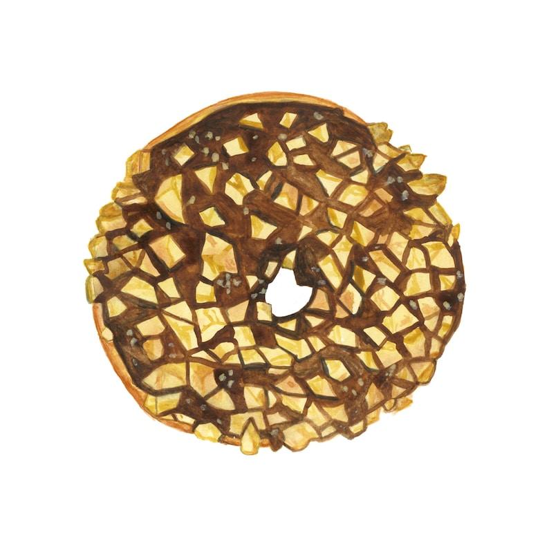 Chocolate and Peanut Donut Original Watercolor Painting image 0