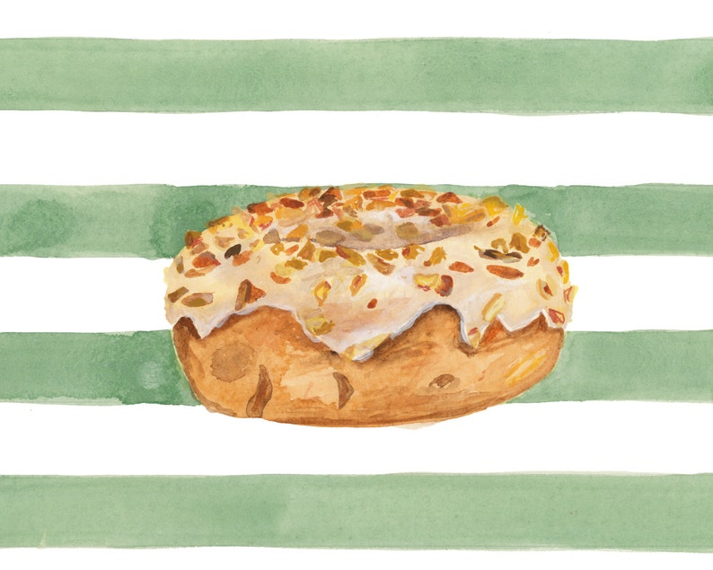 Maple Glazed Peanut Doughnut with Green Stripes Illustrated image 0