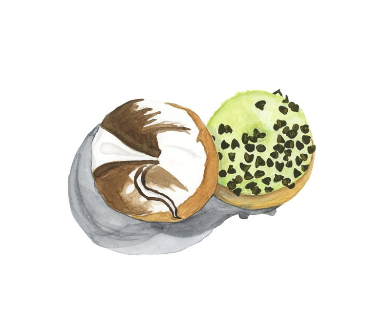 Marble and Pistachio Glazed Donuts Original Watercolor image 0