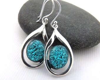 Elegant Teardrop Earrings - Aquamarine - Fused Glass Earrings - Ready to Ship