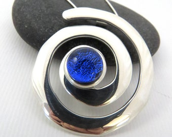 Cobalt Blue Necklace - Fused Glass Jewelry - Silver Swirl Pendant - Koru Swirl