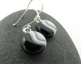 Fused Glass Earrings - Black and White