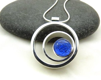 Ripple Effect - Cobalt Blue - Silver and Glass - Fused Glass Necklace