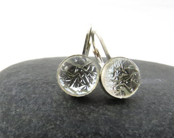 Petite Silver Frost Earrings - Fused Glass and Sterling Silver Leverback Earrings