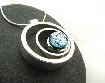 Ripple Effect - Icy Silver - Silver and Glass - Fused Glass Necklace