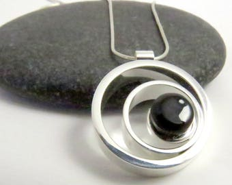 Ripple Effect - Black Silver and Glass - Fused Glass Necklace