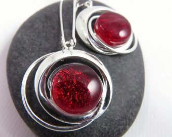 Cosmic Swirl Earrings - Candy Apple Red Earrings - Fused Glass Earrings