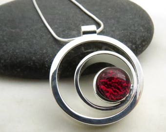Garnet Red Ripple Effect - Silver and Glass - Fused Glass Necklace