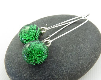 Emerald Green Earrings -  Long Elegant Earrings - Silver Glass Earrings - Sterling Silver Dangles