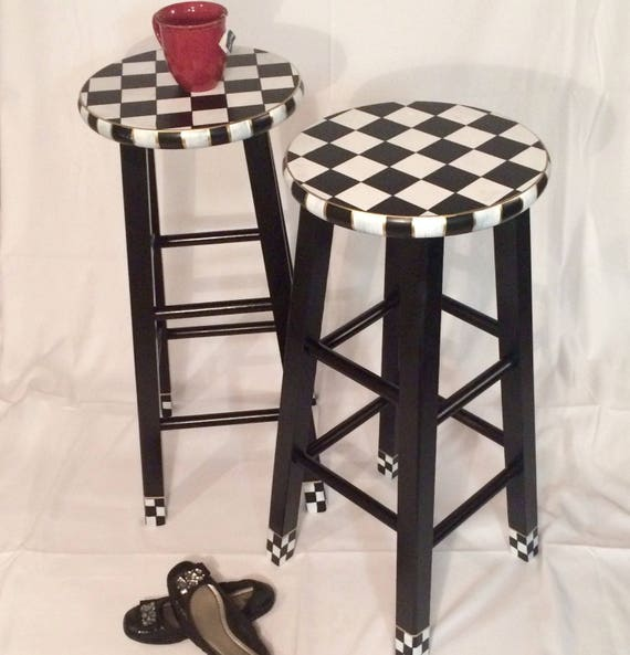 Pleasant Whimsical Painted Furniture 24 Painted Round Top Bar Stool Whimsical Painted Stool Checkered Stool Black White Hand Painted Home Decor Cjindustries Chair Design For Home Cjindustriesco