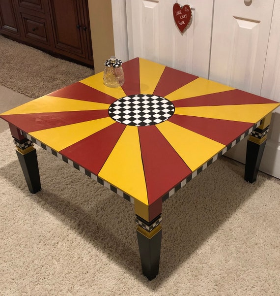 Pleasant Whimsical Painted Coffee Table Black And White Red Yellow Square Coffee Table Custom Painted Coffee Table Bralicious Painted Fabric Chair Ideas Braliciousco