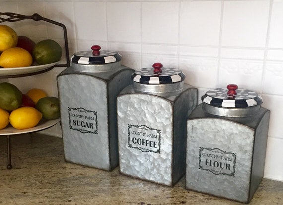 Canister set of 3, farmhouse kitchen storage, canisters for kitchen,  whimsical painted canisters hand painted home decor