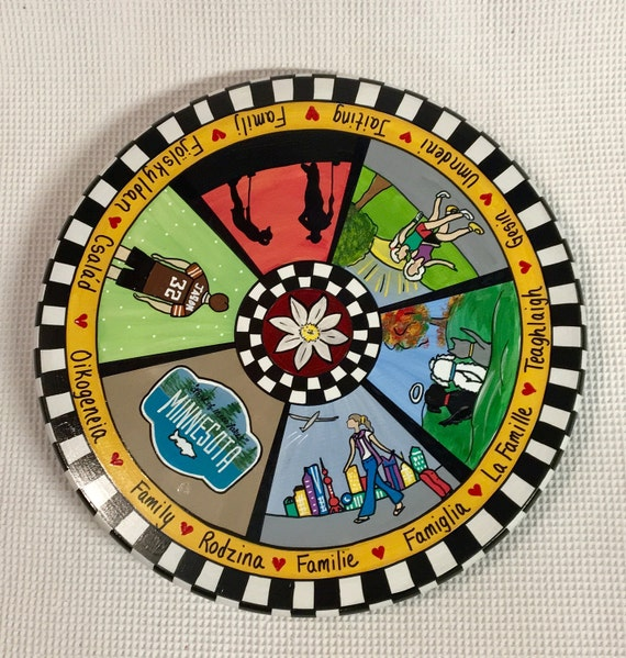 6 Section Whimsical Painted Lazy Susan Turntable Six Personalized Turntabl hand painted home decor Custom Painted Lazy Susan Turntable