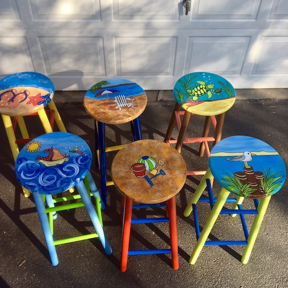Whimsical Painted Furniture Painted Bar Stool Nautical Etsy