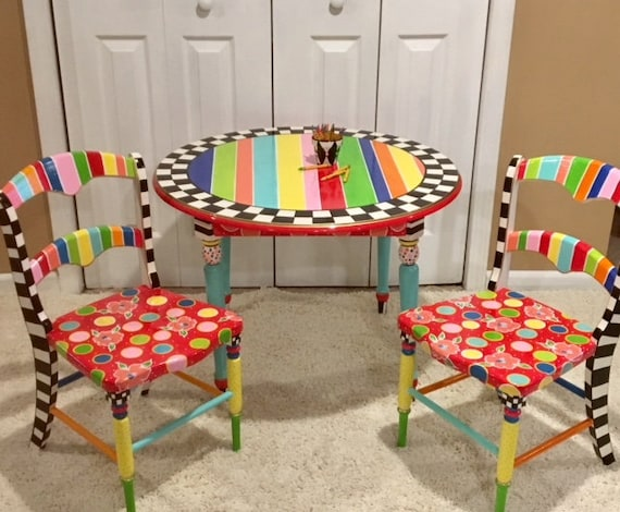 Sensational Kids Play Table And Chair Set Whimsical Painted Kids Furniture Kids Painted Chair Kids Painted Table Play Table Tea Party Table Machost Co Dining Chair Design Ideas Machostcouk