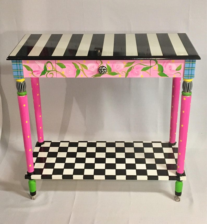 Bon Whimsical Painted Furniture, Painted Console Table, Whimsical Painted  Table, Black And White Checkered Tablepainted Furniture Hand Painted