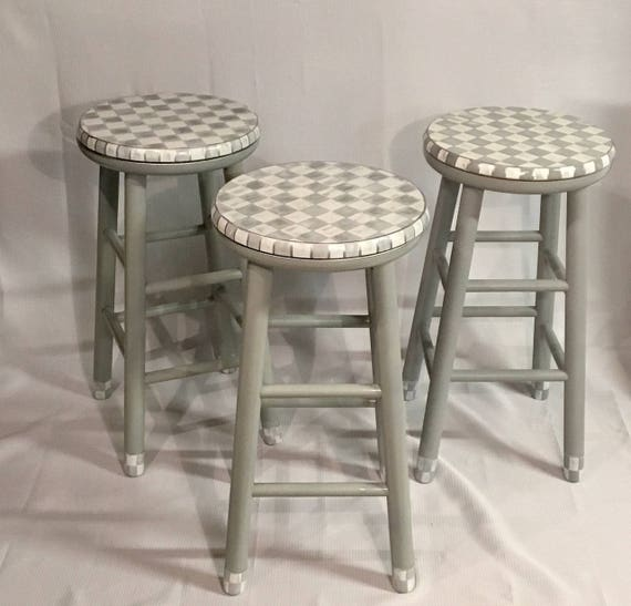 Super Whimsical Painted Furniture 24 Painted Round Top Bar Stool Swivel Whimsical Painted Stool Checkered Stool Gray White Hand Painted Ibusinesslaw Wood Chair Design Ideas Ibusinesslaworg