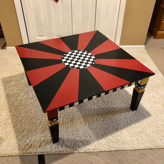 Prime Whimsical Painted Coffee Table Black And White Red Square Coffee Table Custom Painted Coffee Table Bralicious Painted Fabric Chair Ideas Braliciousco