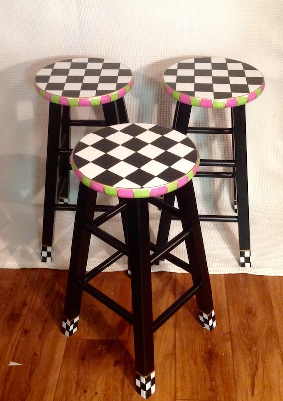 Sensational Whimsical Painted Furniture Painted Bar Stool 29 Hand Painted Custom Round Top Wooden Bar Stool Counter Stool Chair Hand Painted Caraccident5 Cool Chair Designs And Ideas Caraccident5Info