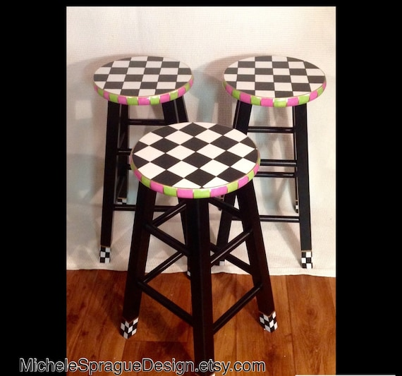 Astounding Whimsical Painted Furniture Painted Bar Stool 29 Hand Painted Custom Round Top Wooden Bar Stool Counter Stool Chair Hand Painted Bralicious Painted Fabric Chair Ideas Braliciousco