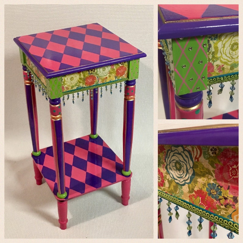 Exceptionnel Whimsical Painted Furniture, Hand Painted Furniture Table, Harlequin  Tablepainted Furniture Hand Painted Home Decor