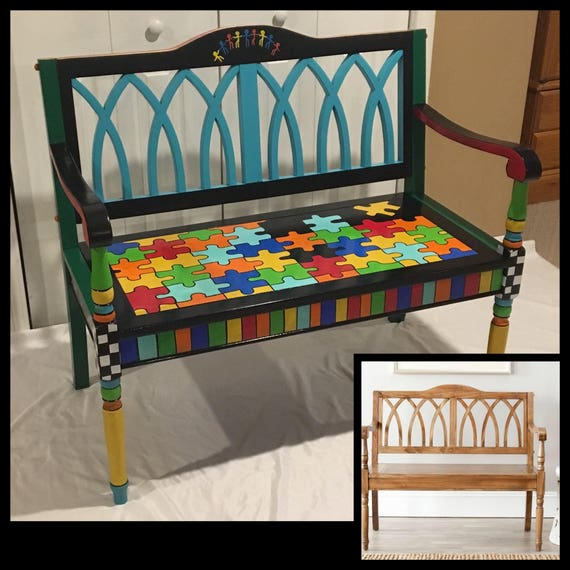 Merveilleux Whimsical Painted Furniture, Whimsical Painted Bench, Custom Painted Bench,  Kids Painted Chair Hand Painted Home Decor
