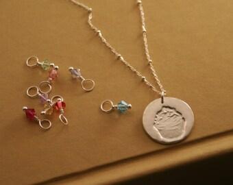 Cupcake Necklace In Fine Silver With 3 Swarovski Dangles