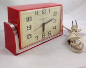 Gorgeous Vintage Kitchen Clock made with Red Bakelite and Chrome