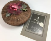 Vintage Sewing Basket Filled with Vintage Sewing Items with Vintage Photograph of Woman at Antique Treadle Sewing Machine