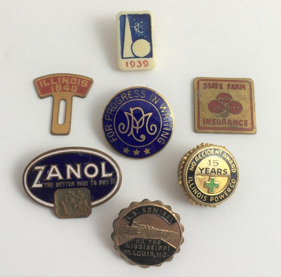 Collection of Advertisement Lapel Pins and Buttons