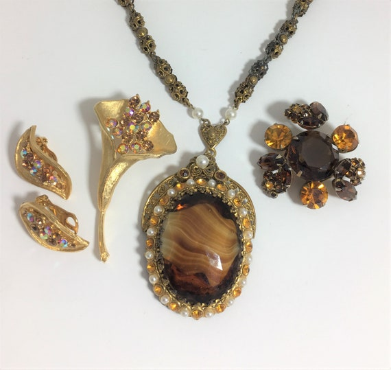 Group of Vintage Jewelry in Gold and Amber Tones,
