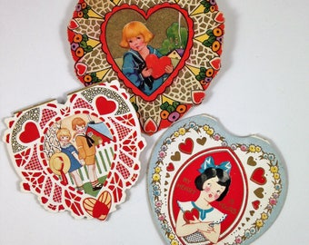 Collection of Three Vintage Valentine Cards, Heart Valentines