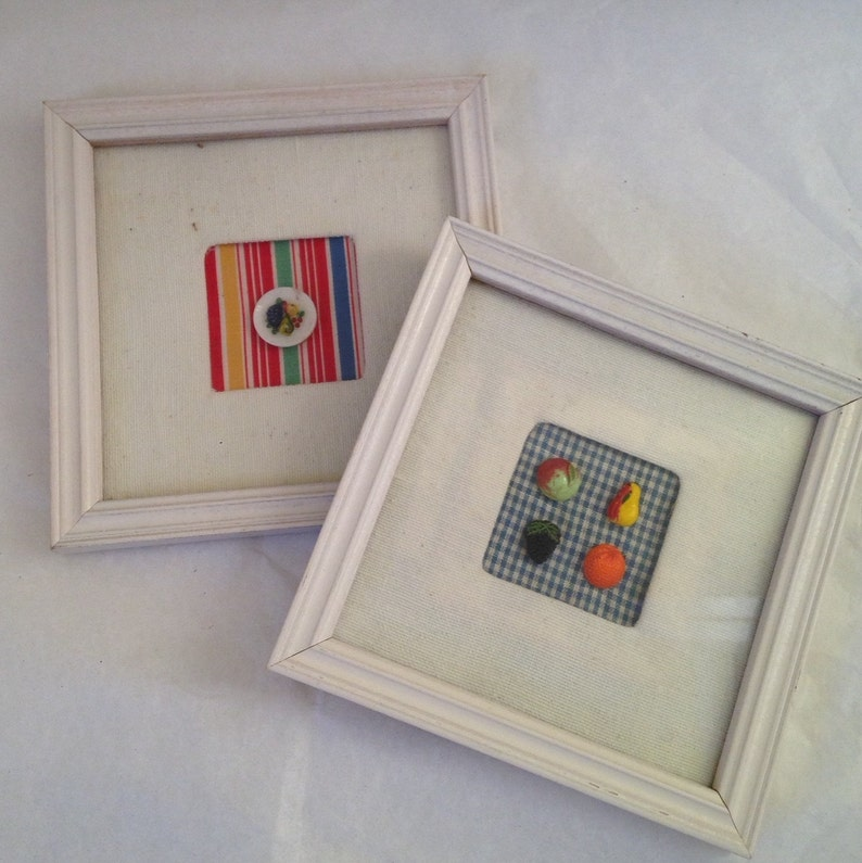 Collection of Four Vintage Glass Fruit Realistic Buttons in Square Frame
